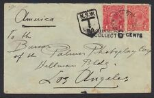 "AUSTRALIA 1914 POSTAGE DUE CVR ""COLLECT 6 CENTS"" TO LOS ANGELOS CAL NO MARKINGS"