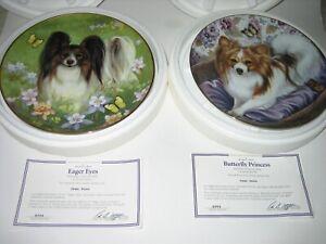 2 DANBURY MINT TAMARA BURNETT EAGER EYES & BUTTERFLY PRINCES PAPILLON DOG PLATES