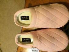 RALPH LAUREN SCUFF SLIPPERS PINK QUILTED PATTERN PONY HARD SOLE 6
