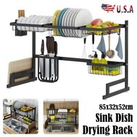 Rectangle Over Sink Dish Drying Rack Drainer Kitchen Cutlery Holder Shelf USA