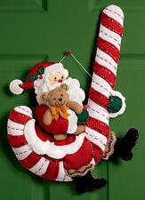Bucilla Santa & Candy Cane ~ Felt Christmas Wall Hanging Kit #86154, Teddy Swing