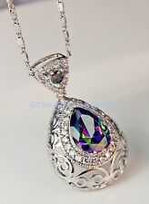 18K White Gold Filled-MYSTICAL Rainbow Waterdrop Topaz Cocktail Pendant Necklace