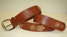HOLLISTER Belt Brown Leather Cognac Hippie Flower Rhinestone M Authentic
