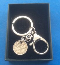 More details for rare 1952 king george vi sixpence coin 69th birthday and lobster clasp keyring