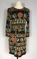 Esley Brown and Multicolored Floral Long Sleeve Knit Sweater Dress Women's S