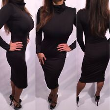 Connie's Super Soft Super Stretchy Long Sleeve Black Turtleneck Midi Dress S