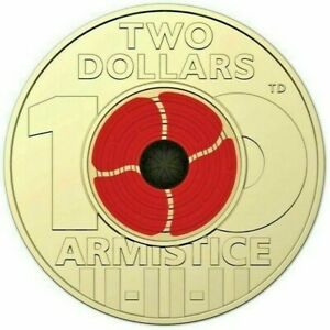 2018 $2 Two Dollar Coin Remembrance Day Armistice Red Poppy - 1 x Coin UNC