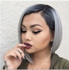 Women's Ombre black gray Straight short bob Synthetic Hair Cosplay Party Wig+Cap
