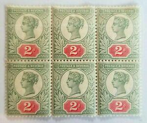 Block of 6 UNMOUNTED MINT Great Britain Queen Victoria 2d Jubilee SG200