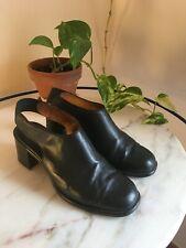 Vintage Black PLATFORM 90s Slip On MULES Leather Chunky Back EU38 UK5 US 7.5/8