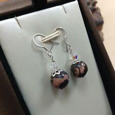 Rhodonite, Crystal & 925 Sterling Silver - Black/Pink 10mm - Drop Earrings (#2)