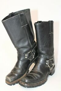 Vintage USA Made Mens 7 M Black Leather Engineer Motorcycle Boots 491436