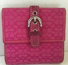 Authentic Coach Wallet Pink Canvas With Silver Tone Buckle Small Envelope