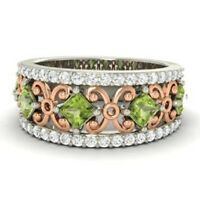 1.31 Ct Natural Diamond Peridot Engagement Eternity 14K Solid White Gold Ring