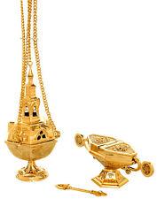 Church censer boat spoon incense burner thurible polished brass 27cm