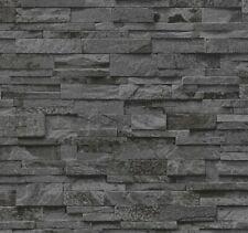 Vliestapete P+S Stein Steine Mauer 3D Optik schwarz grau 02363-40 (2,06?/1qm)