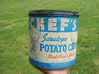 Vintage 1lb Potato Chip Metal Tin Can CHEF'S Saratoga Chips - York PA - Rougher