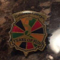 Vtg 1990 California Lottery 5 Years Of Fun Employee Promo Lapel Hat Pin