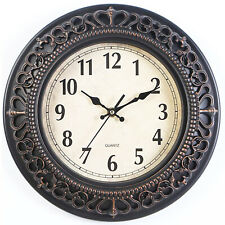 "Silent Wall Clock 12"" Retro Design Non Ticking Quality Numeral Round Wall Clock"