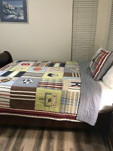 Pottery Barn Kids Queen Size Quilt & 1 Sham Varsity Sports Multicolor Cover