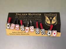 Vintage Set of 10 Tiny Plastic Playing Cards Clips - Party Place Card - GERMANY