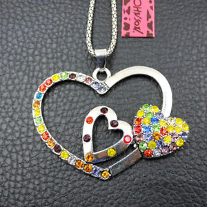 Betsey Johnson Crystal Rhinestone Love Heart Pendant Sweater Necklace