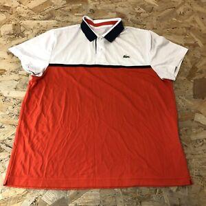 Mens Polo Top T-shirt L Large Lacoste Orange/white B6088