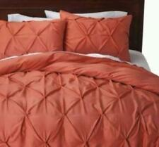 Threshold Full Queen Pleat Pintucked Puckering Smocked Duvet Set New CORAL