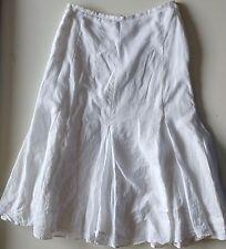 EUC Carole Little White Linen Lined Panel Godet Skirt Size 6
