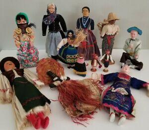 Vintage Lot Ethnic Dolls Culture Souvenir World Cloth Wood Natural Materials