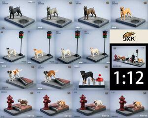 JXK Studio 1/12 Scale Bulldog Dog Resin Pet Animal Statue Collectible Toy