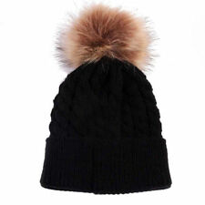 Winter Women Ladies Warm Knitted Raccoon Real Fur Pom Beanie Bobble Ski Hat Cap