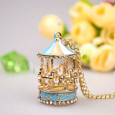1PC Gold Plated Enamel Pendant Rhinestone Carousel Horse Necklace Sweater Chain