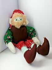 "Handmade 16"" Elf Rag Doll with bells and Christmas clothes striped socks A4"