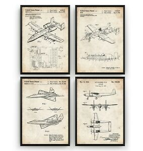 Military Aircraft Set Of 4 Patent Prints - Poster Wall Art Decor - Unframed