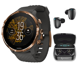 SUUNTO 7 Graphite Copper GPS Smartwatch with Wearable4U EarBuds Power Bundle