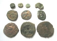 A lot of 10 x byzantine Ae-Follis and Ae-fractions from different emperors