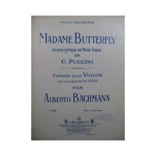 BACHMANN Alberto Madame Butterfly Novelty Violin Piano 1906 partition sheet mu