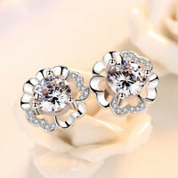 925 Sterling Silver Beautiful Bloom Stone Stud Earrings Womens Girls Jewellery