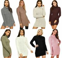 Women Cable Knitted Cowl Polo Neck Bodycon Jumper Pullover Tunic Mini Dress 8-22