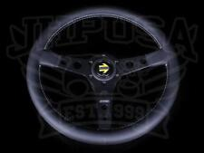 Momo Prototipo Steering Wheel 350mm Black Spokes Leather Porsche Honda Toyota