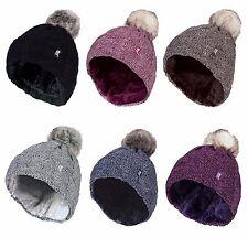 Heat Holders - Womens Cable Knit Fleece Lined Winter Bobble Pompom Beanie Hat