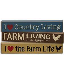 "Set/3 Mini Signs ""I Love the Farm Life, Country Living, Farm Living"" Rustic"