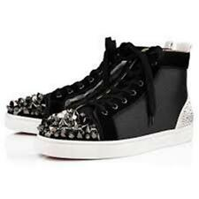 Christian Louboutin LOU MIX Men Crystal Spiked Stud High Top Sneaker Shoes $1795