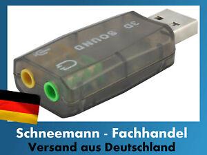 USB  Soundkarte  Audio Adapter 5.1 3D Virtual Surround Soundeffekt PC Neu