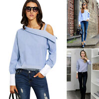 Top Ladies Autumn Striped Fold Asymmetrical Long Sleeve off shoulder Blouse Blue