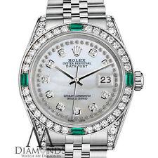 Women's Rolex 31mm Datejust white MOP Jubilee Bracelet custom Emerald diamonds