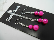 A  BRIGHT PINK PEARL   NECKLACE AND EARRING SET. NEW.