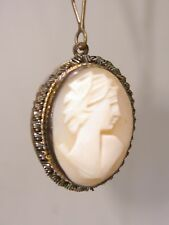 Cameo W/Twisted Steel Trim Necklace! Antique Edwardian 1890'S Carved Shell