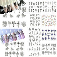 10x Nail Art Water Decals Stickers Transfers Flower Necklace Jewellery Lace Gems